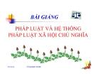 Bài giảng Pháp luật và hệ thống pháp luật xã hội chủ nghĩa - Vũ Quang Hưng