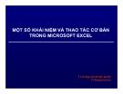 Bài giảng Một số khái niệm và thao tác cơ bản trong Microsoft Excel - ThS. Nguyễn Khắc Quốc