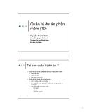 Bài giảng Công nghệ phần mềm: Chương 10 - Nguyễn Thanh Bình