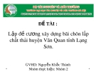 Đề tài: Lập đề cương xây dựng bãi chôn lấp chất thải huyện Văn Quan tỉnh Lạng Sơn
