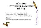 Bài giảng Lý thuyết tài chính tiền tệ: Chương 1 - ThS. Trần Thùy Linh