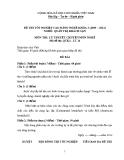 Đề thi & đáp án lý thuyết Quản trị khách sạn năm 2012 (Mã đề LT14)