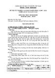 Đề thi thực hành Quản trị khách sạn năm 2012 (Mã đề TH9)