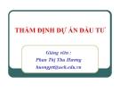 Bài giảng Thẩm định dự án đầu tư - GV. Phan Thị Thu Hương
