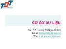 Bài giảng Cơ sở dữ liệu: Mở đầu - ThS. Lương Thị Ngọc Khánh