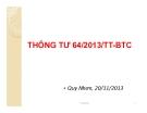 Bài giảng Thông tư 64/2013/TT-BTC