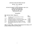 Đề thi thực hành Quản trị nhà hàng năm 2012 (Mã đề TH50)