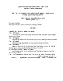 Đề thi & đáp án lý thuyết Quản trị nhà hàng năm 2012 (Mã đề LT14)
