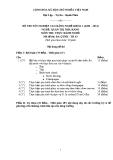 Đề thi thực hành Quản trị nhà hàng năm 2012 (Mã đề TH3)