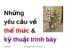 Bài giảng Văn bản quản lý hành chính Việt Nam: Những yêu cầu về thể thức & kỹ thuật trình bày - TS. Lưu Kiếm Thanh