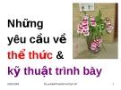 Bài giảng Văn bản quản lý hành chính Việt Nam: Những yêu cầu về thể thức và kỹ thuật trình bày - TS. Lưu Kiếm Thanh