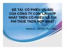 Thuyết trình: Cổ phiếu ưu đãi của công ty con, lãi hợp nhất trên cổ phiếu và chi phí thuế TNDN hợp nhất