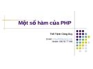 Bài giảng Một số hàm của PHP - Ths. Trịnh Công Duy
