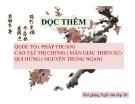 Bài giảng Ngữ văn 10 tuần 15: Đọc thêm Vận nước (Đỗ Pháp Thuận),Cáo bệnh, báo mọi người (Mãn Giác), Hứng trở về(Nguyễn Trung Ngạn)