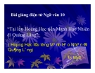 Bài giảng Ngữ văn 10 tuần 15: Tại lầu  Hoàng Hạc tiễn Mạnh Hạo Nhiên đi Quảng Lăng