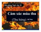 Bài giảng Ngữ văn 10 tuần 16: Cảm xúc mùa thu