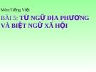 Slide bài Từ ngữ địa phương và biệt ngữ xã hội - Ngữ văn 8