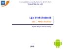 Bài giảng Lập trình Android: Bài 1 - Trung tâm tin học ĐH KHTN