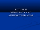 Lectures Comparative political: Lecture II