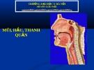 Bài giảng Giải phẫu: Mũi-hầu-thanh quản - ĐH Y Hà Nội