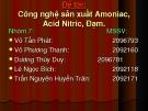 Đề tài: Công nghệ sản xuất Amoniac, Acid nitric, đạm