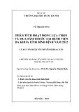 Luận văn dược sĩ chuyên khoa: Phân tích hoạt động lựa chọn và mua sắm thuốc tại bệnh viện đa khoa tỉnh Bình Định năm 2012