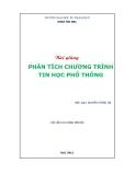 Bài giảng Phân tích chương trình Tin học phổ thông - Nguyễn Tương Tri
