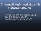 Bài giảng VB.net - Chương 2: Ngôn ngữ lập trình Visual Basic. Net