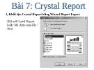 Bài giảng Lập trình trực quan - Bài 7: Crystal Report