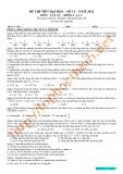 Đề thi thử đại học môn Vật lý - Khối A, A1, V: Đề số 11