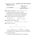 Đề kiểm tra chất lượng môn Toán giữa học kỳ I