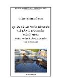 Giáo trình Quản lý ao nuôi, bè nuôi cá lăng, cá chiên - MĐ03: Nuôi cá lăng, cá chiên