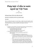 Pháp luật về đầu tư nước ngoài tại Việt Nam - Lê Thị Bích Ngọc