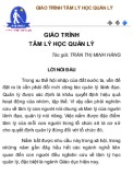 Giáo trình Tâm lý học quản lý - Trần Thị Minh Hằng