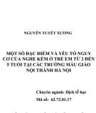 Tóm tắt Luận án Tiến sĩ Dịch tễ học: Một số đặc điểm và yếu tố nguy cơ của nghe kém ở trẻ em từ 2 đến 5 tuổi tại các trường mẫu giáo nội thành Hà Nội
