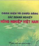 Doanh nghiệp nông nghiệp Việt Nam - Danh hiệu và chức năng: Phần 2