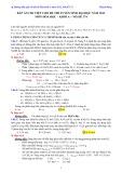 Đáp án chi tiết cho đề thi Tuyển sinh Đại học năm 2013 môn Hóa học - Khối A - Mã đề 374 - Thạch Đông