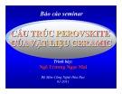 Bài thuyết trình: Báo cáo seminar - Cấu trúc perovskite của vật liệu ceramic - Ngô Trương Ngọc Mai