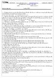 Đề kiểm tra Cơ học vật rắn (Lần 1)