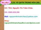 Bài giảng XLSL và QHTN trong hóa - GV.ThS. Nguyễn Thị Trâm Châu
