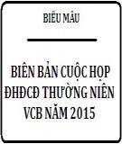 Biên bản cuộc họp ĐHCĐ thường niên VCB năm  2015