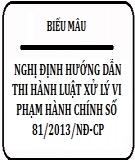 Nghị định hướng dẫn thi hành luật xử lý vi phạm hành chính số 81/2013/NĐ-CP