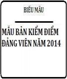 Mẫu bản kiểm điểm đảng viên năm 2014