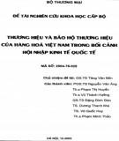 Đề tài nghiên cứu khoa học cấp bộ: Thương hiệu và bảo hộ thương hiệu của hàng hóa Việt Nam trong bối cảnh hội nhập kinh tế quốc tế