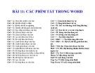 Bài giảng Microsoft Word 2003 - Bài 11: Các phím tắt trong Word