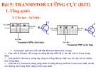 Bài giảng Điện tử căn bản - Bài 5: Transistor lưỡng cực (BJT)