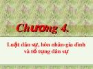 Bài giảng Pháp luật đại cương: Chương 4 - Luật dân sự, hôn nhân - gia đình và tố tụng dân sự