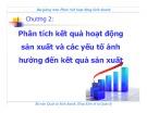 Bài giảng học phần Phân tích hoạt động kinh doanh: Chương 2 - Trần Thị Hương
