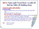 Bài giảng Bài 6: Ngôn ngữ Visual Basic và một số thủ tục biến cố thường dùng