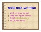 Bài giảng Ngôn ngữ lập trình - Nguyễn Văn Linh